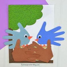 Easy Baby Blue Bird Craft With Template Fun Handprint Art – Kids Crafts, Souvenirs & Gifts Holiday Ideas Jungle Crafts, Farm Animal Crafts, Handprint Butterfly, Handprint Art, Paper Crafts For Kids, Crafts To Make, Fun Crafts, Bird Nest Craft, Bird Crafts