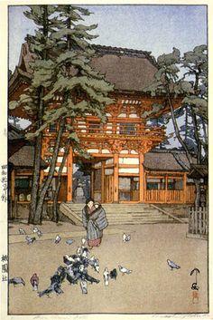 祇園神社の門 による吉田博 1935、