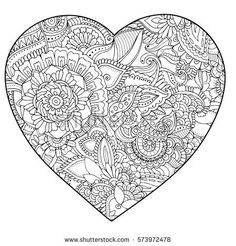 Hand-drawn heart ornament in black and white. Monochrome adult coloring page. Vector illustration. Ethnic zendoodle.