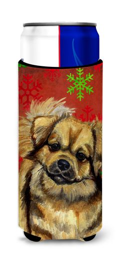 Tibetan Spaniel Red Green Snowflake Holiday Christmas Ultra Beverage Insulators for slim cans LH9349MUK