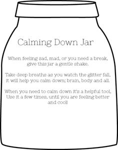 How to make a glitter calm down jar and how to use it. Diy Glitter, Glitter Jars, Counseling Activities, Therapy Activities, Therapy Worksheets, Class Activities, Coping Skills, Social Skills, Life Skills