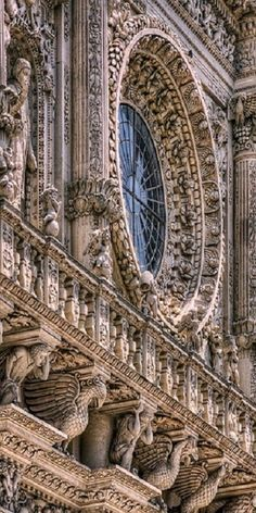 "Basilica di Santa Croce. Lecce, Italy - also called the ""Temple of the Italian Glories"" for being the burial site of brilliant Italians, such as Galileo and Michelangelo (among others)"