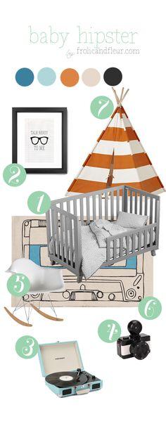 Love the teepee and mid century modern rocker - hipster baby nursery decor