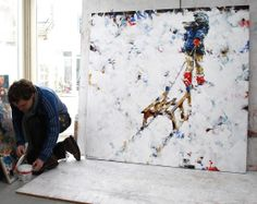 Dorus Brekelmans and his painting 'Winter girl' acrylic on canvas 2013