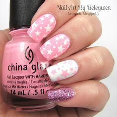 Nail Art by Belegwen: China Glaze Feel The Breeze, Gina Tricot White and Depend Primrose.