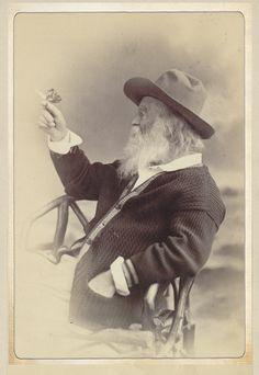 Walt Whitman wearing a cardigan in 1877...