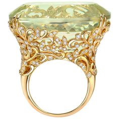 Tamir Incredible Spodumene and Diamond Garden Ring | From a unique collection of vintage cocktail rings at https://www.1stdibs.com/jewelry/rings/cocktail-rings/