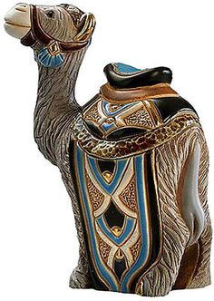 """Amazon.com: Custom & Unique {5.9"""" x 3.1"""" Inch} 1 Single, Home & Garden """"Standing"""" Figurine Decoration Made of Grade A Ceramic w/ Indian Dromedary Style {Blue, Gold, & Brown Color}: Home & Kitchen"""