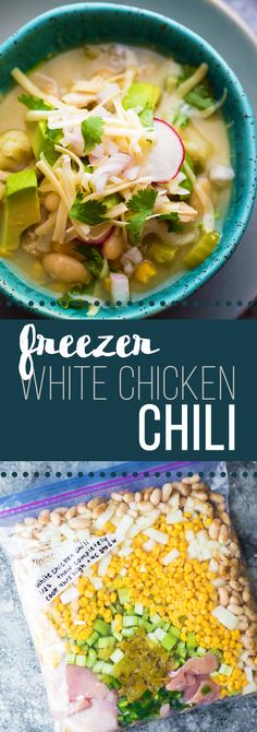 This freezer to crock pot Healthy Slow Cooker White Chicken Chili makes dinner such a breeze!  Assemble ahead and stash in the fridge or freezer, then on the day of cooking, dump into the slow cooker and press start...it's that easy!