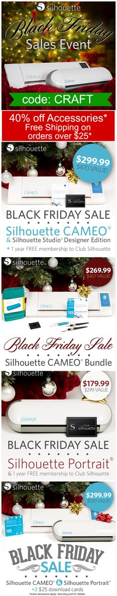 All of Silhouette Black Friday Deals all in one place. Lots of great deals! Save on the NEW Silhouette CAMEO and Portrait, 40% off accessories, + free shipping!! Click here: http://www.craftaholicsanonymous.net/2014-silhouette-black-friday-details-code