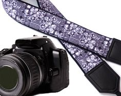 Black and white Camera strap. Flowers camera strap. by InTePro