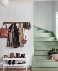 The Best 24 Painted Stairs Ideas for Your New Home Green stairs, functional entryway, coat rack and shoe table. But mostly I love those stairs!Green stairs, functional entryway, coat rack and shoe table. But mostly I love those stairs! Painted Stairs, House Design, Staircase Decor, House Interior, Interior Trend, House, Home, Interior, Home Decor