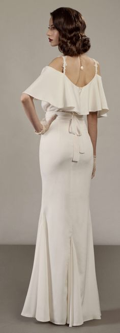 old Hollywood glam 30's inspired off the shoulder wedding dress