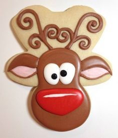 Whimsical Reindeer Cookies using gingerbread man cookie cutter. I love the large red nose on this one. -Oh I see it, it's upside down! Christmas Sugar Cookies, Christmas Sweets, Noel Christmas, Christmas Goodies, Holiday Cookies, Christmas Baking, Christmas Tables, Nordic Christmas, Modern Christmas