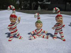 Vintage Lefton three Christmas Candy Cane Striped Elf Ornaments Box Decorations
