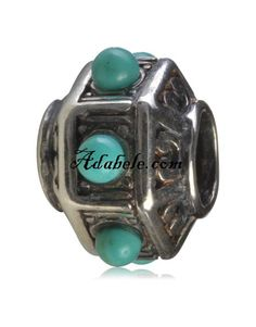 This beautiful turquoise .925 Sterling Silver European charm fits Pandora, Biagi Trollbeads, Chamilia, and most charm bracelets find out more at adabele.com