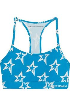 Perfect Moment - Printed Stretch Sports Bra - Blue -