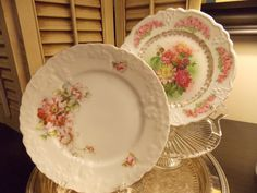 VINTAGE Pair of PLATES Floral China by VintageCreativeAccen