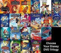 Lion King Toy Story Aladdin Little Mermaid Cinderella Cars Peter Pan Disney DVD