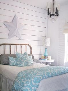 Beach Cottage Decor - Beachy bedroom - Beach Bedroom White is a staple for creating a beachy look in the bedroom. Paired with pale blue accessories, a vintage chandelier and a distressed headboard. For my someday beach home. Shabby Chic Bedrooms, Shabby Chic Homes, Shabby Chic Furniture, Modern Bedroom, Teen Bedroom, Bedroom Beach, Master Bedroom, White Bedrooms, Blue Bedroom