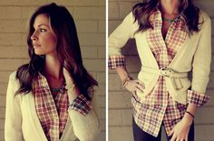 striped belt + plaid shirt + cardy - cute idea for work with dark jeans.