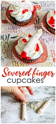 Severed Finger Cupcakes for Halloween. Halloween dessert idea for a party. Creepy bloody treat for halloween. Halloween Goodies, Halloween Food For Party, Halloween Desserts, Halloween Cupcakes, Halloween Halloween, Halloween Treats, Finger Desserts, Fun Desserts, Delicious Desserts