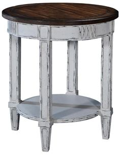 Lamp Table San Maria Louis XVI French Distressed White Rustic Pecan Wood Round #Furniture #SolidWood #LampTable #LouisXVI Antique Furniture, Furniture Decor, Furniture Design, San Maria, Pecan Wood, Lamp Table, Wood Rounds, Louis Xvi, Table Legs