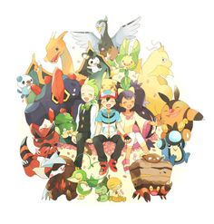 Ash Ketchum, his Pikachu and his Charizard with their Unova friends ^.^ ♡