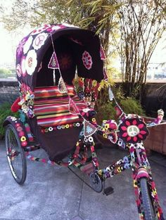 Yarn bombing...... #Handmade #Craft #DIY #Create #Crochet #Sculpture #Art #UPcycle #Recycle #Yarnbombing Embroidery Transfers, Machine Embroidery, Guerilla Knitting, Desi Wedding Decor, Hippie Culture, Yarn Bombing, Hippie Art, Vintage Embroidery, Upcycled Vintage