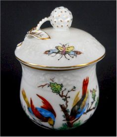 Dresden Birds and Bugs Pot de Creme Cup : PotsDeCreme - GourmetSleuth - front view