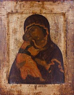 Detailed view: VV003. Virgin of Vladimir- exhibited at the Temple Gallery, specialists in Russian icons