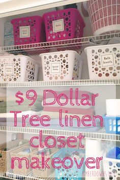 $9 Dollar Tree linen closet makeover with free printable.  organize your linen closet and more. AmberDowns.net