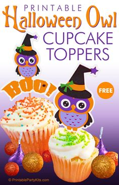 FREE Printable Halloween Owl Cupcake Toppers in Four Designs | These adorable Halloween owls are wearing their witch hats and are decked out in festive orange, purple, yellow and black. These not-so-scary owls are perfect for adult or children's Halloween parties | They also come with a matching FREE printable invitation.   #HalloweenCupcakes #Halloween #HalloweenParty #HalloweenCupcakeIdeas #HalloweenDesserts #HalloweenForKids #CarlaChadwick Halloween Owl, Halloween Desserts, Halloween Cupcakes, Halloween Crafts, Halloween Party, Halloween Decorations, Holiday Crafts, Happy Halloween, Free Printable Invitations