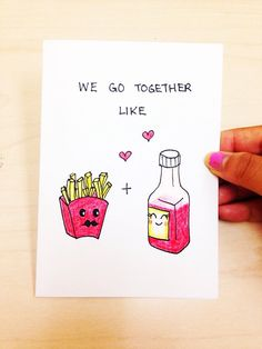 Funny love Card We go together like ketchup and fried, boyfriend card, best friend card, sister card by LoveNCreativity
