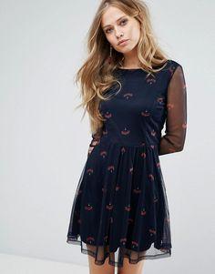 Vero Moda Printed Skater Dress - Navy