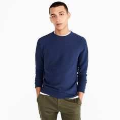 J.Crew: Cotton Crewneck Sweater In Garter Stitch For Men Crew Clothing, Piece Of Clothing, Sweater Outfits, Men Sweater, Crewneck Sweater, Casual Outfits, Plain White Sneakers, Garter Stitch, Cool Sweaters