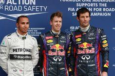 Round 1, Rolex Australian Grand Prix 2013, Qualify, P3 Lewis Hamilton, Driver, Mercedes AMG Petronas F1 Team, P1 Sebastian Vettel, Driver, Infiniti Red Bull and Racing, P2 Mark Webber, Driver, Infiniti Red Bull Racing