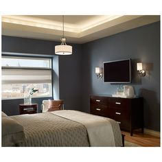 Stirling Collection by Sea Gull Lighting: Three-Light Pendant. #lighting #pendant #bedroomlighting #bedroomdecor #pendantlighting #SeaGullLighting