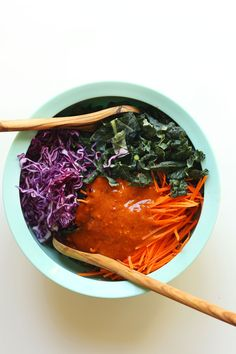 Vegan Asian Kale Salad #vegan #vegetarian #glutenfree #food #GoVegan #organic #healthy #RAW #recipe #health #whatveganseat