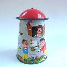 Tiny Tin Silo Tin Toy Retro Toy Metal Silo Litho Old by DodadChick