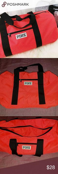 "Victoria's Secret PINK duffle bag VS PINK Big duffle bag! Orange/red color.  New. About 12"" x 24"" PINK Victoria's Secret Bags"