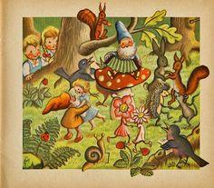 From the German children's book 'Waldmärchen (Forest Fairy Tales)'. Text by Hildegard Kuhn, illustrated by Ernst Fay, 1948 Forest Elf, Forest Fairy, Fairy Paintings, Mushroom Art, Woodland Creatures, Fairy Art, Children's Book Illustration, Faeries, Elves
