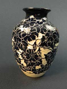 Wild Rose Vase. Sgraffito technique using cobalt slip on white clay.