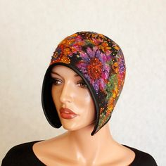 Colorful hat felted ,Fancy cap Hat with flowers painted  Floral hat Multicolor…