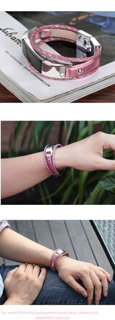 bayite Leather Replacement Bands Bracelet for Fitbit Alta - Pink  #fitbit #fitbitalta #fitbitaltahr #fitbitaltabands #altahr
