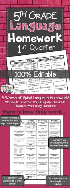 Spiral Language Homework, Morning Work, or Centers for the ENTIRE 1st Quarter of FIFTH GRADE! Aligned with 5th grade Common Core Language standards {Grammar & Word Study}. These sheets are 100% EDITABLE, and come with answer keys. Paid