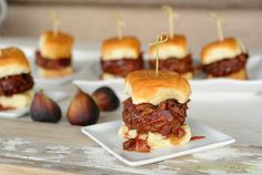 Stuffed Pancetta Burgers with Balsamic Fig Marmalade from Zestuous Sandwich Recipes, Pork Recipes, Fig Marmalade, Blue Cheese Burgers, Hawaiian Sweet Rolls, Tacos, Wraps, Fresh Figs, Wrap Sandwiches