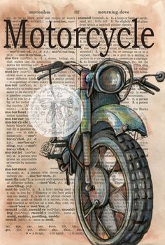 PRINT Motorcycle Mixed Media Drawing on Distressed by flyingshoes