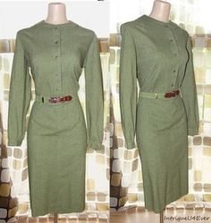 "Vintage 60s 50s Army Green Military Pencil Dress MadMen 16 1X ""The Villager"" $9.99  http://www.ebay.com/itm/200748222754?ssPageName=STRK:MESELX:IT&_trksid=p3984.m1555.l2649"