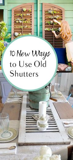 10 New Ways to Use Old Shutters : Repurpose projects, repurpose at home, popular. - 10 New Ways to Use Old Shutters : Repurpose projects, repurpose at home, popular… : 10 New Ways - Bedroom Shutters, Diy Shutters, Repurposed Shutters, Farmhouse Shutters, Rustic Shutters, Shutters Inside, Shutter Projects, Diy Projects, Crates